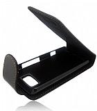 Nokia 700 Kapakl� Siyah Deri K�l�f
