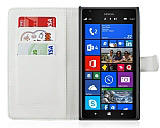 Nokia Lumia 1520 C�zdanl� Yan Kapakl� Beyaz Deri K�l�f