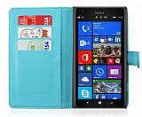 Nokia Lumia 1520 C�zdanl� Yan Kapakl� Mavi Deri K�l�f