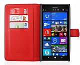Nokia Lumia 1520 C�zdanl� Yan Kapakl� K�rm�z� Deri K�l�f