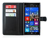 Nokia Lumia 1520 Cüzdanlı Yan Kapaklı Siyah Deri Kılıf