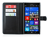 Nokia Lumia 1520 C�zdanl� Yan Kapakl� Siyah Deri K�l�f