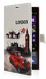 Nokia Lumia 1520 London C�zdanl� Yan Kapakl� Deri K�l�f