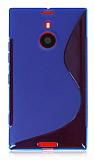 Nokia Lumia 1520 Desenli �effaf Mavi Silikon K�l�f