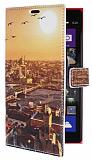 Nokia Lumia 1520 Galata K�pr�s� C�zdanl� Yan Kapakl� Deri K�l�f
