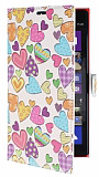 Nokia Lumia 1520 Kalp Cüzdanlı Yan Kapaklı Deri Kılıf