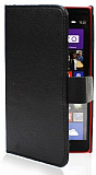 Nokia Lumia 1520 Standl� C�zdanl� Siyah Deri K�l�f