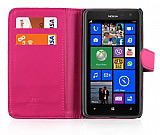 Nokia Lumia 625 C�zdanl� Pembe Deri K�l�f
