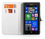 Nokia Lumia 625 C�zdanl� Beyaz Deri K�l�f