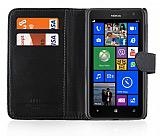 Nokia Lumia 625 C�zdanl� Siyah Deri K�l�f