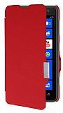 Nokia Lumia 625 �nce Yan Kapakl� K�rm�z� K�l�f