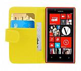 Nokia Lumia 720 Yan Cüzdanlı Sarı Kılıf