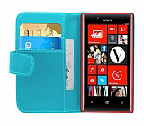 Nokia Lumia 720 Yan Cüzdanlı Mavi Kılıf