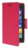 Nokia Lumia 735 Standlı Cüzdanlı Pembe Deri Kılıf