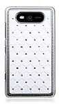 Nokia Lumia 820 Ekose Ta�l� Beyaz Sert Rubber K�l�f
