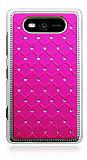 Nokia Lumia 820 Ekose Ta�l� Pembe Sert Rubber K�l�f