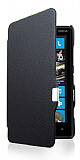 Nokia Lumia 820 �nce Yan Kapakl� Standl� Siyah Deri K�l�f