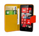 Nokia Lumia 820 Kırmızı Yan Cüzdanlı Kılıf