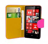 Nokia Lumia 820 Pembe Yan Cüzdanlı Kılıf