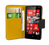 Nokia Lumia 820 Siyah Yan Cüzdanlı Kılıf