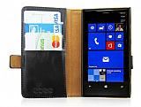 Nokia Lumia 920 C�zdanl� Standl� Siyah Deri K�l�f
