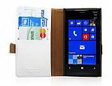 Nokia Lumia 920 C�zdanl� Standl� Beyaz Deri K�l�f