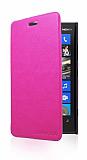 Nokia Lumia 920 �nce Yan Kapakl� Pembe Deri K�l�f
