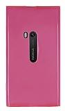 Nokia Lumia 920 Şeffaf Pembe Silikon Kılıf