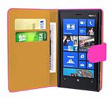 Nokia Lumia 920 Pembe Yan Cüzdanlı Kılıf