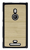 Nokia Lumia 925 Ah�ap G�r�n�ml� Sar� Rubber K�l�f