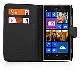 Nokia Lumia 925 Cüzdanlı Siyah Deri Kılıf