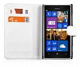 Nokia Lumia 925 C�zdanl� Beyaz Deri K�l�f