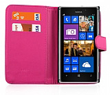 Nokia Lumia 925 Cüzdanlı Pembe Deri Kılıf