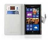 Nokia Lumia 925 C�zdanl� Standl� Beyaz Deri K�l�f
