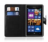 Nokia Lumia 925 Cüzdanlı Standlı Siyah Deri Kılıf