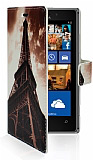Nokia Lumia 925 Eiffel C�zdanl� Yan Kapakl� K�l�f