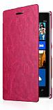 Nokia Lumia 925 �nce Yan Kapakl� Pembe Deri K�l�f