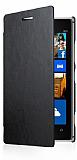 Nokia Lumia 925 �nce Yan Kapakl� Siyah Deri K�l�f