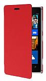 Nokia Lumia 925 �nce Yan Kapakl� K�rm�z� Deri K�l�f