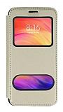 Oppo A12 Çift Pencereli Kapaklı Gold Kılıf