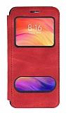 Oppo A12 Çift Pencereli Kapaklı Kırmızı Kılıf