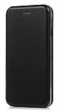Oppo A12 Curve Manyetik Kapaklı Siyah Deri Kılıf