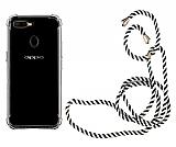 Oppo A5s Askılı Şeffaf Siyah Çizgili Silikon Kılıf