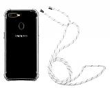 Oppo A5s Askılı Şeffaf Beyaz Çizgili Silikon Kılıf