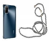 Oppo A92 Askılı Şeffaf Siyah Çizgili Silikon Kılıf
