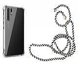 Oppo Reno3 Askılı Şeffaf Siyah Çizgili Silikon Kılıf