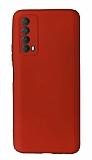 Huawei P Smart 2021 Kamera Korumalı Kırmızı Silikon Kılıf