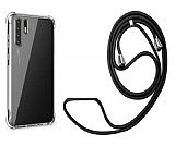 Oppo Reno3 Askılı Şeffaf Siyah Silikon Kılıf