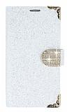 PinShang Asus Zenfone Go Taşlı Kapaklı Cüzdan Beyaz Kılıf