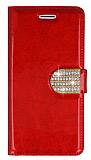 PinShang Casper Via V8 Taşlı Standlı Cüzdan Rugan Kırmızı Kılıf